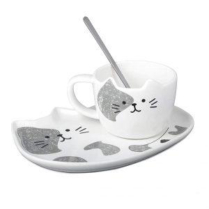 Ceasca pisica Binx cu farfurie ceramica