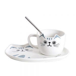 Ceasca pisica Murphy cu farfurie ceramica