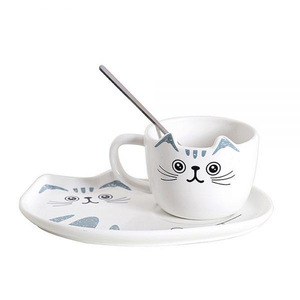 Set ceasca pisica si farfurie Murphy ceramica