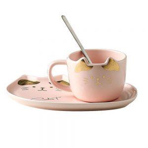 Ceasca pisica Remi roz cu farfurie ceramica