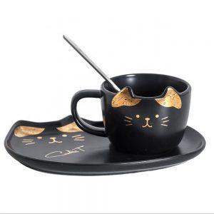 Ceasca pisica Remi neagra cu farfurie ceramica