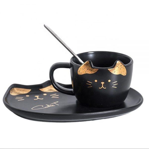 Set ceasca pisica si farfurie Remi negru