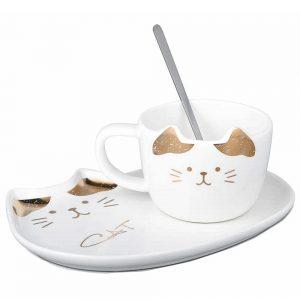 Ceasca pisica Remi alba cu farfurie ceramica