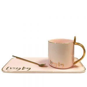 Ceasca Celine cu farfurie roz portelan