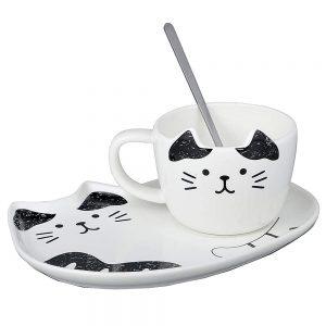 Ceasca pisica Chester cu farfurie ceramica