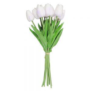 Lalele albe artificiale Tulipe 34cm buchet 9 plante decorative