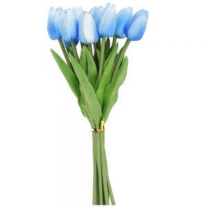 Lalele bleu artificiale Tulipe 34cm buchet 9 plante decorative