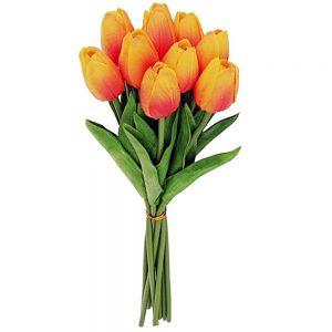 Lalele galben-portocaliu artificiale Tulipe 34cm buchet 9 plante decorative