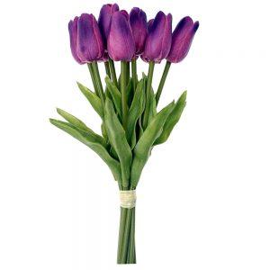 Lalele mov artificiale Tulipe 34cm buchet 9 plante decorative