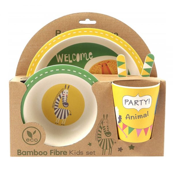 Set 5 piese picnic EcoKid fibre bambus set mic dejun copii