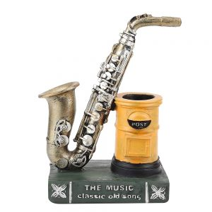 Suport pixuri Giorgio vintage cu saxofon auriu decor birou
