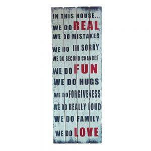 Tablou text House Rules lemn 40x110cm