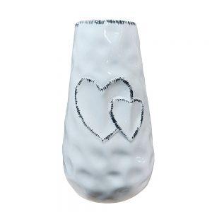 Vaza ceramica Gabrielle alba vintage 19cm