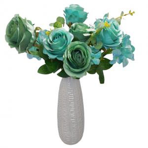 Buchet trandafiri artificiali bleu-turcoaz Caroline 45cm