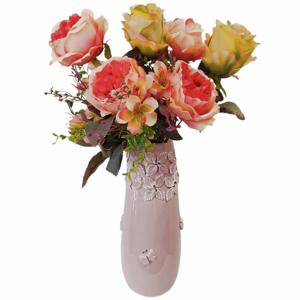 Buchet trandafiri artificiali corai Lime Danielle