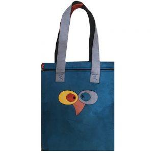 Geanta shopper catifea Patricia albastru