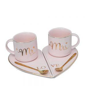Set 2 cesti & farfurii Mr&Mrs roz portelan