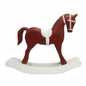 Calut rosu pe balansoar Rocking Horse lemn vintage