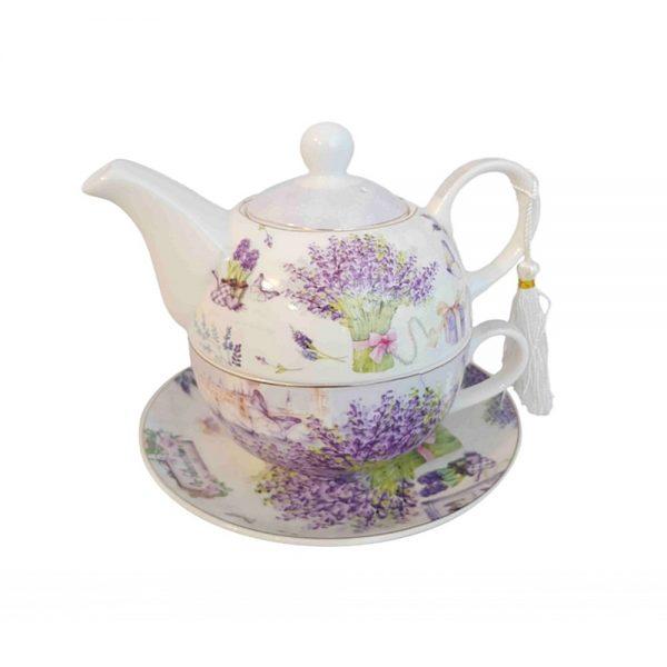 Set ceai Cosette lavanda, 3 piese portelan