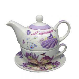 Set ceai pentru 1 persoana Janine lavanda, 3 piese