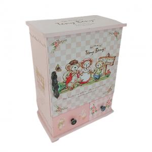 Cutie bijuterii Happy Bears roz lemn 16x9x24cm
