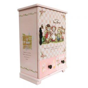 Cutie bijuterii Happy Bears roz lemn