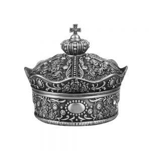 Cutie bijuterii coroana vintage Queen 9x9cm