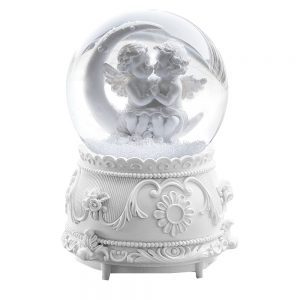 Glob muzical din sticla White Angels 15cm