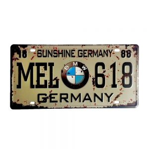 Placa metal vintage BMW numar auto