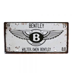 Placa metal vintage Bentley numar auto decorativ
