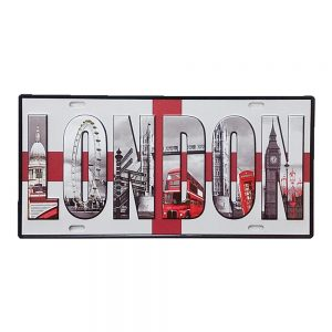 Placa metal vintage London numar auto