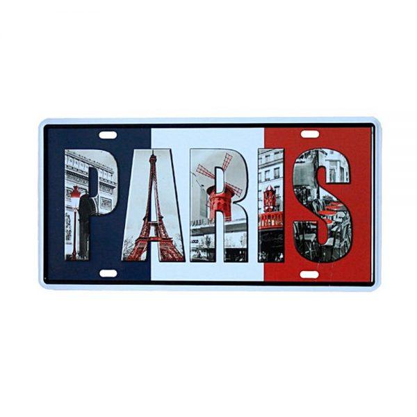 Placa metal vintage Paris numar auto decorativ