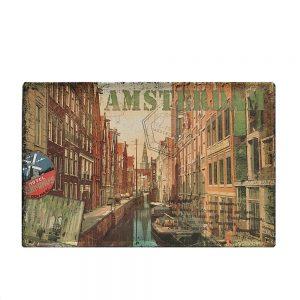 Placa metalica Amsterdam poster vintage