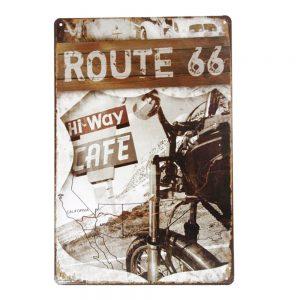 Placa metalica Route 66 Cafe vintage
