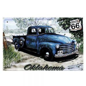 Placa metalica Route 66 Oklahoma vintage
