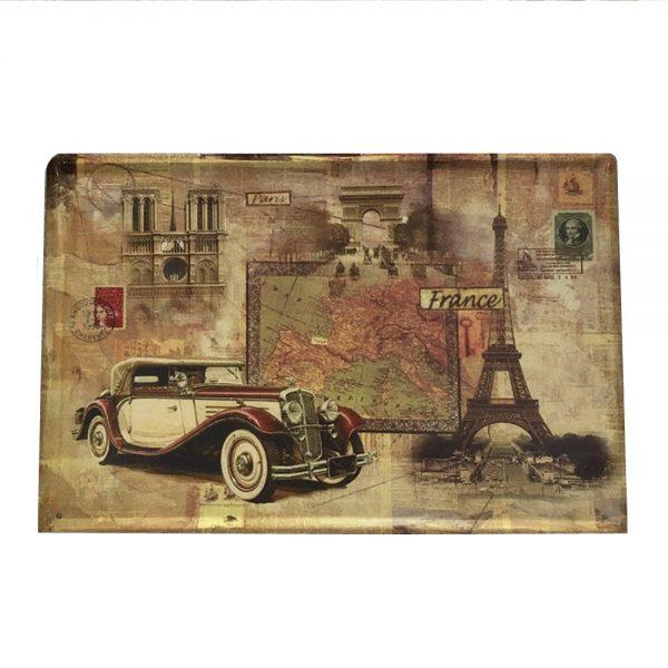 Placa metalica Tour Eiffel poster vintage