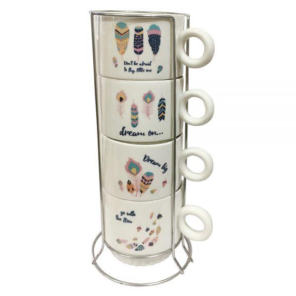 Set 4 cesti cafea Dream ceramica 200ml
