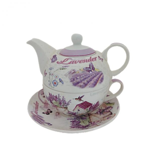Set ceai Janine lavanda, 3 piese portelan