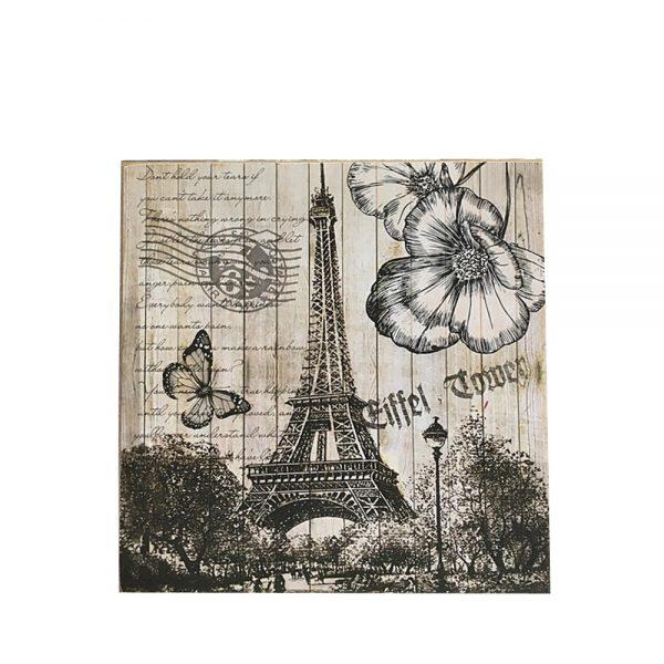 Tablou lemn Tour Eiffel vintage 30x30cm