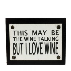 Tablou text About Wine 15x11cm lemn