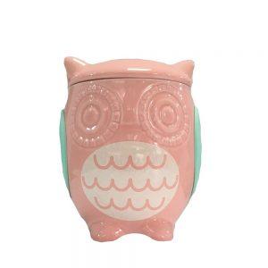 Recipient ceramica bufnita Matilde roz