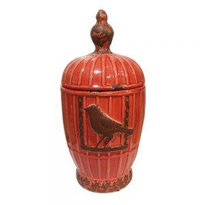 Vaza ceramica Brick Birdcage cu capac