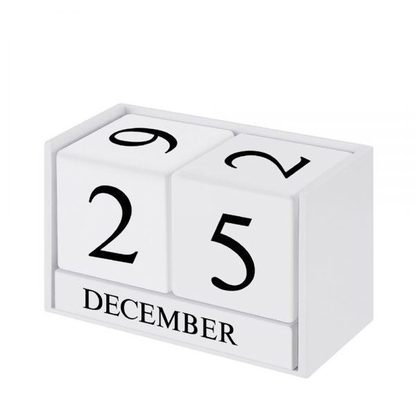 Calendar lemn Roger alb retro
