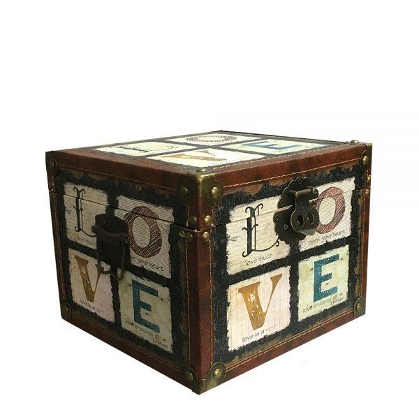 Cufar lemn Love 23x23cm vintage