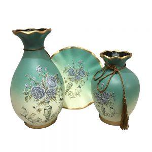 Set vaze & farfurie Florence albastru