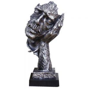 Statueta masca argintie No Hear vintage 35cm