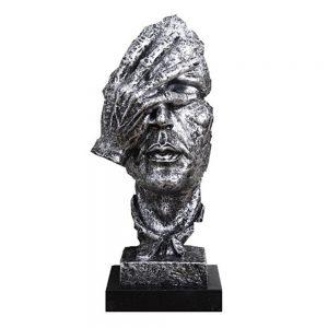 Statueta masca argintie No See vintage 35cm