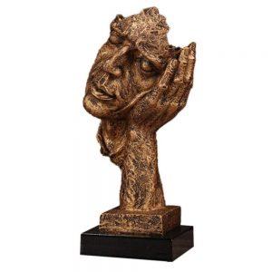 Statueta masca aurie No Hear vintage