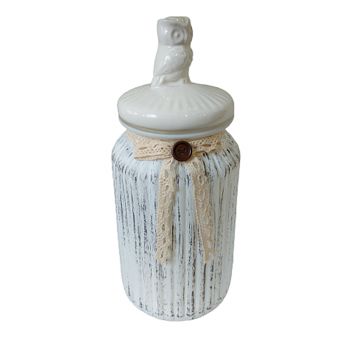 Borcan depozitare Antique Owl sticla