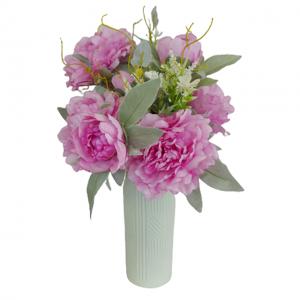 Buchet bujori roz artificiali Odette 45cm